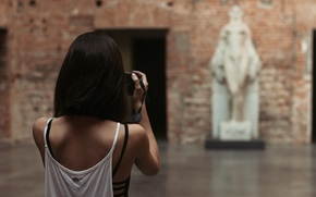 Wallpaper girl, haircut, back, Mike, statue, photographs