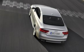 Picture Audi, Machine, Grey, Asphalt, In Motion, The view from the top