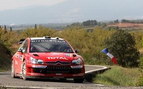 Picture Red, Sport, Race, Citroen, WRC, Rally, Sebastien Loeb, The front