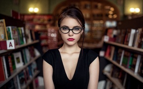 Wallpaper Hair, Lips, Glasses, Look, Face, Library