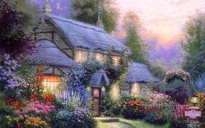 Wallpaper summer, flowers, comfort, heat, calm, silence, the evening, house, cottage, Thomas kinkade, Kincaid