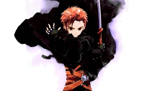 Picture katana, red, gloves, guy, cloak, art, straps, sumi keiichi