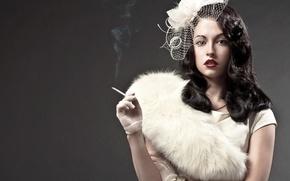 Picture look, girl, smoke, brunette, cigarette, gloves, hat, veil