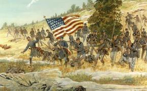Picture flag, Americans, America, run, cowboy, Gettysburg, July 2, 1863..The Battle of Gettysburg, Twentieth Maine, the …