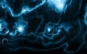 Picture blue sun, clouds, planets, light