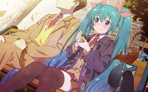 Picture girl, anime, art, pair, guy, Vocaloid