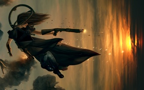 Wallpaper girl, sunset, weapons, drop, shotgun