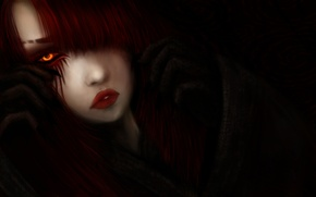 Picture look, girl, hair, art, black background, yellow eyes, red lips, fantatica
