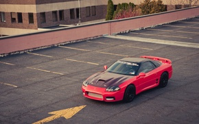 Picture the building, Mitsubishi, Parking, red, red, Mitsubishi, 3000GT