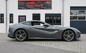 Picture Ferrari, silver, side view, cam shaft, the ferrari f12 berlinetta