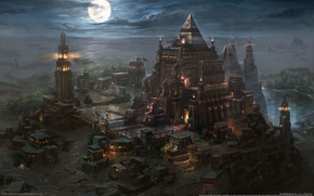 Picture night, the city, the moon, desert, lighthouse, art, pyramid, the mausoleum, kingdom under fire