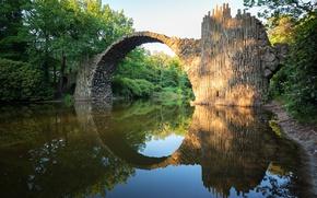Picture water, landscape, bridge, nature, Park, river, stones, Germany, arch, forest