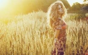 Wallpaper blonde, girl, field, dress