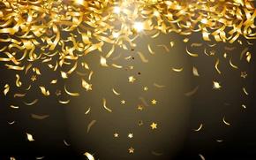 Wallpaper lights, background, gold, sequins, golden, glow, confetti, sparkle, glitter, confetti