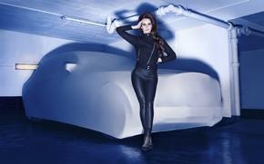 Picture machine, pipe, clothing, shadow, garage, brunette, jacket, black, singer, pants, Lana Del Rey, Lana Del …