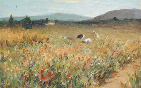 Picture landscape, mountains, picture, Marseille Dif, Figures among the flowers in Provence