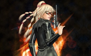Picture braids, weapon, girls, wallpapers, blond, Other, Lady X