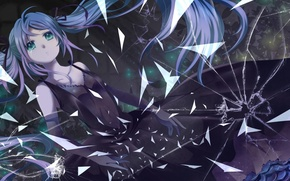 Picture glass, fragments, cracked, tears, black dress, Hatsune Miku, Vocaloid, long hair, broken