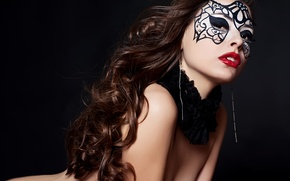 Picture look, girl, face, pose, eyelashes, model, hair, body, earrings, makeup, mask, lips, black background, curls