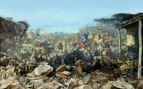 Wallpaper militants, explosions, shootout, ruins, battle, Afgan, armor, Diorama, Soviet troops, helicopters, the battle, Afghanistan