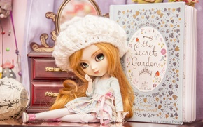 Picture hat, toy, doll, girl, book