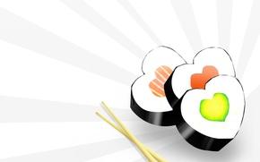 Wallpaper food, minimalism, sticks, Sushi