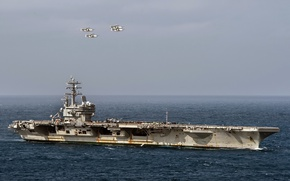 Picture weapons, army, navy, USS Ronald Reagan (CVN 76), Four E-2C Hawkeyes
