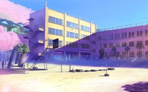 Wallpaper school, 5 centimeters per second, art, Sakura, Playground, Makoto Xingkai, petals, Byousoku 5 centimetre, Cherry ...