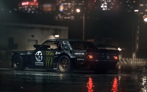 Wallpaper Gymkhana, Dark, Ken Block, Hoonicorn, SEVEN, 845 hp, Rear, 1965, RTR, Mustang, Ford
