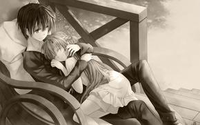 Picture anime, art, sword art online, kirito, asuna