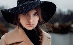 Picture snow, portrait, hat, Russia, Anna, curls, George Chernyadev