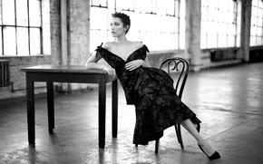 Wallpaper black&white, dress, model, beauty, lips, look, decollete, Bella Hadid