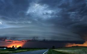 Wallpaper storm, road, clouds