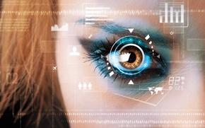 Picture look, eyes, interface, one, protection, code, zero, hi-tech, elements, bokeh, glow, hardware, wallpaper., technology, communication, …