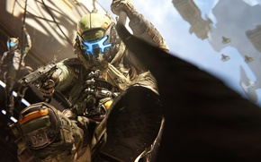 Picture gun, attack, helmet, the cable, pilot, Titanfall