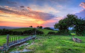 Picture field, landscape, sunset