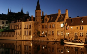 Picture Blue Sky, Night, Belgium, Touristic, Bruges, Old city