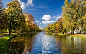 Picture autumn, trees, Park, river, alley, fountains