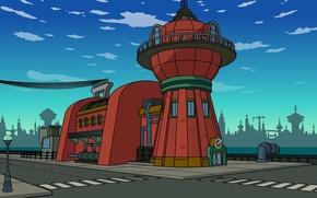 Picture street, the building, Futurama, Futurama, Planet Express