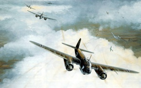 Picture bomber, war, art, airplane, painting, aviation, ww2, Junkers Ju 88