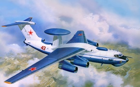 Picture the plane, art, USSR, OKB, complex, AWACS, management, far, intelligence, detection, radar, A-50, Bumblebee, Russia., ...
