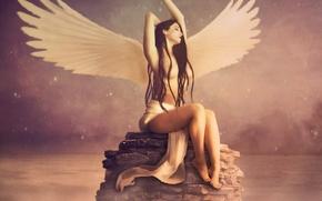 Wallpaper water, girl, pose, reflection, fiction, hair, wings, angel, hands, sitting, long, Jennifer Gelinas