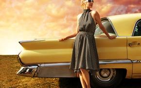 Picture auto, landscape, style, retro, Girl, beauty, dress, appearance