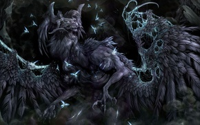 Picture fireflies, wings, claws, Monster