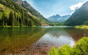 Picture forest, water, trees, mountains, lake, stones, the bottom, transparent, USA, Colorado, Maroon Bells