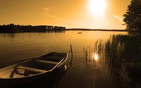 Wallpaper lake, boat, sunset, nature