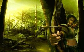 Picture forest, green, Archer, art, forest, art, elf, archer, green elf, fantase