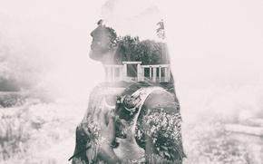 Picture girl, hair, rose, hands, garden