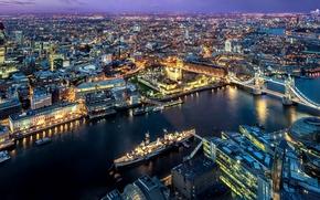 Picture city, lights, river, sky, bridge, sunset, evening, Tower Bridge, London, England, Thames, boats, architecture, Great …