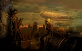 Picture roof, girl, the city, watch, hat, glasses, the airship, gear, Male